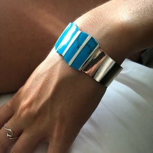 Jewelry - Sterling Silver Turquoise wide cuff Bracelet.